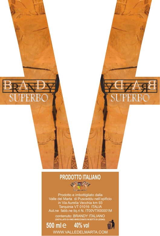 etichetta brandy superbo di Tarquinia