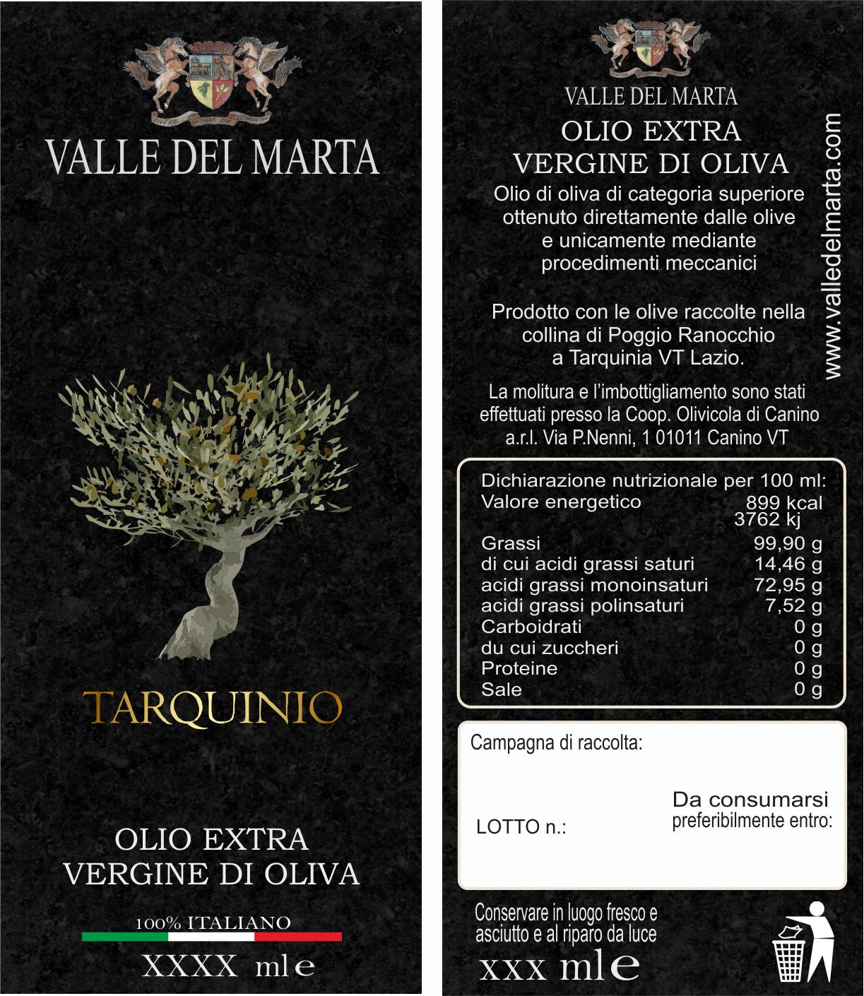 etichetta olio extravergine di oliva Tarquinio